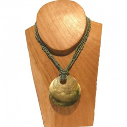 Collier court perles nacre ronde - Bleu vert