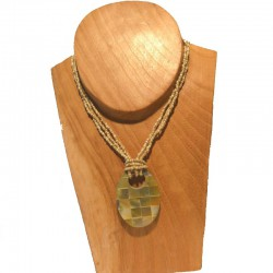 Collier court perles et nacre damiers - Différentes couleurs