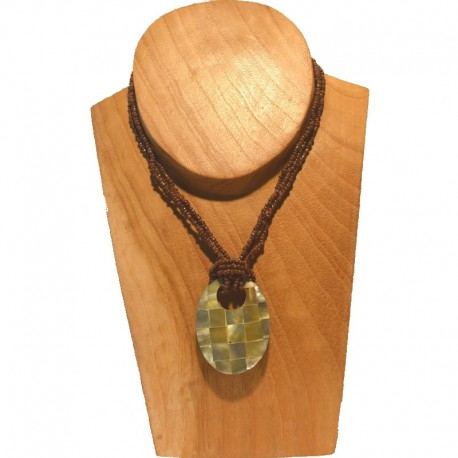 Short necklace beads Nacre checkerboard - Brown