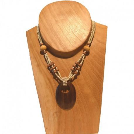 Collier court perles rocaille et bois - Crème