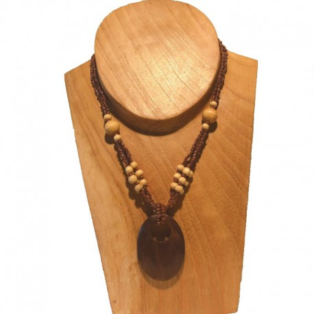 Short necklace beads and wood beads - Brown