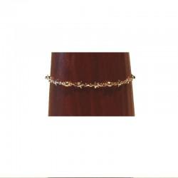 Chaîne de cheville argenté - Etoiles et perles