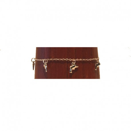 Silver metal anklet chain - Dolphin