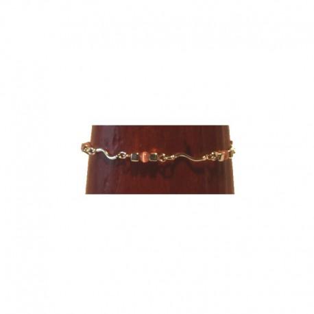 Chaîne de cheville argenté - Perles roses et carrés métal
