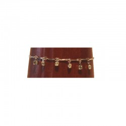 Silver metal anklet chain - 6 Brilliant strass