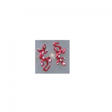 Fancy Gecko earrings - Red