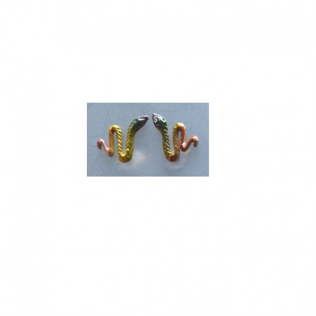 Boucles d'oreilles Serpent - Multicolore vert, jaune et orange
