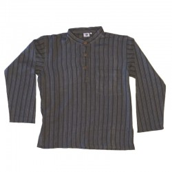 Striped cotton shirt S - Black