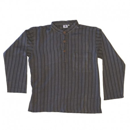 Chemise coton rayé S - Noir