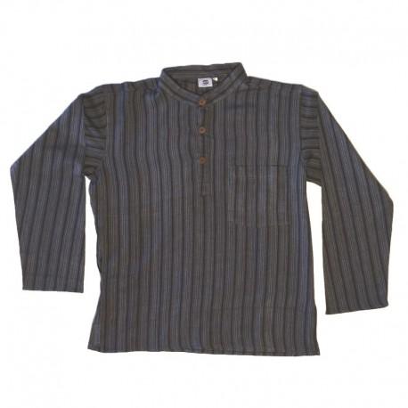 Striped cotton shirt S - Black