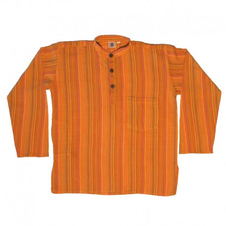 Striped cotton shirt S - Orange/green