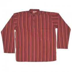 Chemise coton rayé S - Violet/rouge/jaune