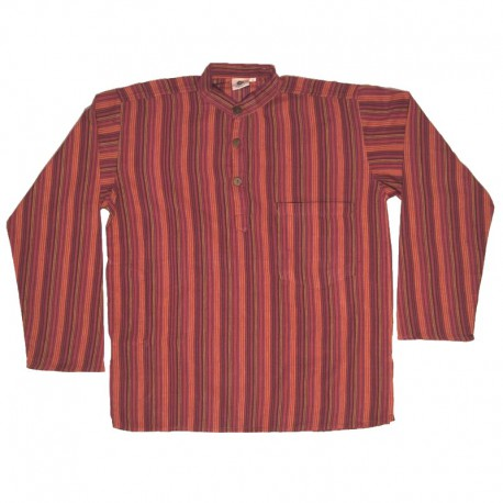 Striped cotton shirt S - Purple/red/yellow