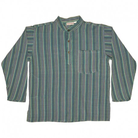 Striped cotton shirt S - Green/blue/yellow