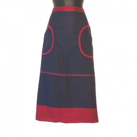 Jupe longue en coton - Bleu et bordeaux