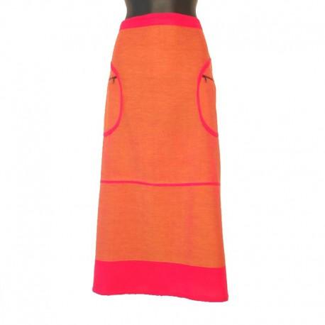 Jupe longue en coton - Orange et rose