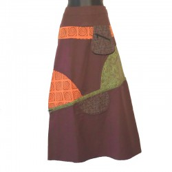 Ethnic long cotton skirt - Brown, orange, green