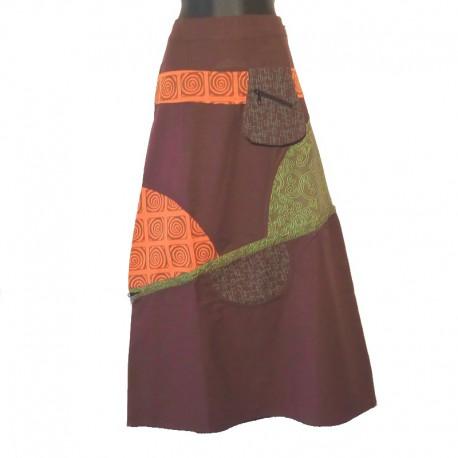 Jupe longue ethnique en coton - Marron, orange, vert
