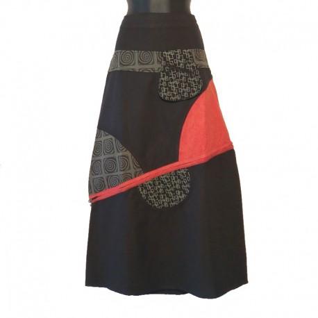 Jupe longue ethnique en coton - Noir, gris, rouge