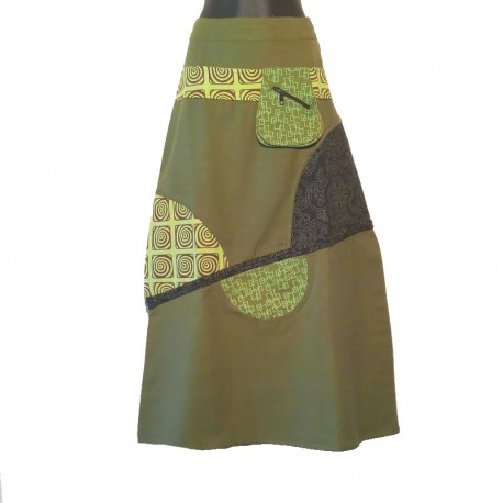 Ethnic long cotton skirt - Green, light green, gray