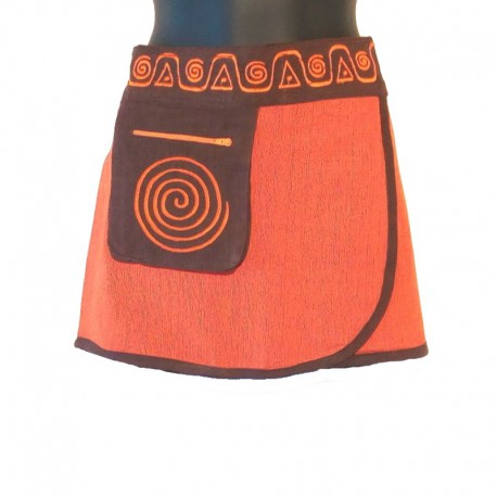Mini ethnic cotton skirt - Orange