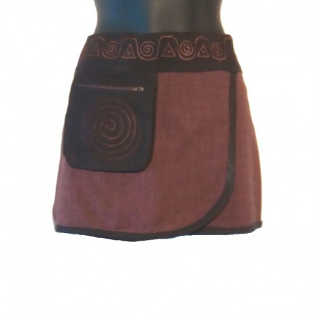Mini ethnic cotton skirt - Brown