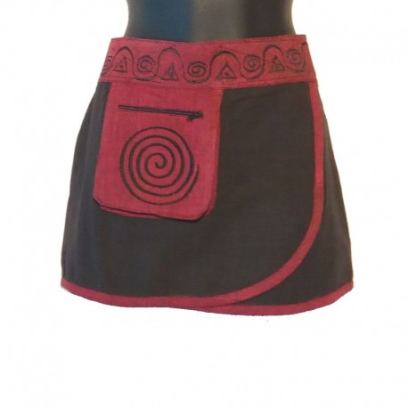 Mini ethnic cotton skirt - Black
