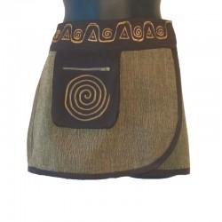 Mini jupe ethnique coton - Orange