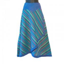 Jupe longue portefeuille en coton - Bleu