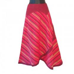 Long cotton striped wrap skirt - Blue