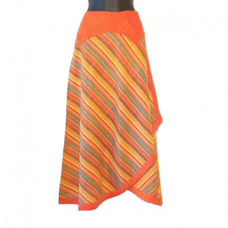 Jupe longue portefeuille en coton - Orange/jaune