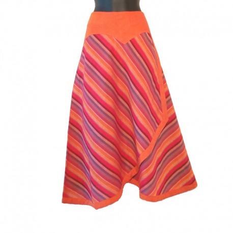 Long cotton striped wrap skirt - Orange/raspeberry