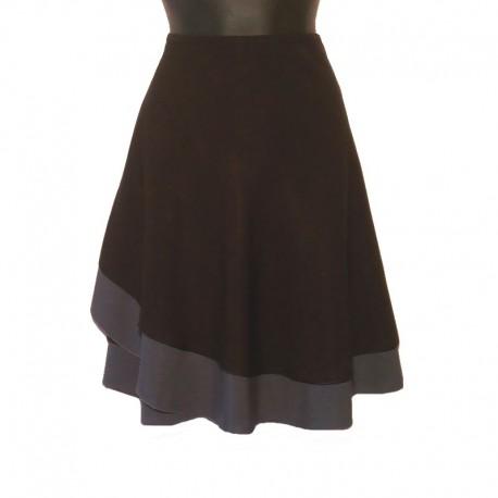 Short wraparound skirt - Black and gray