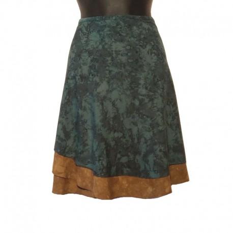 Jupe portefeuille courte en coton - Vert et marron
