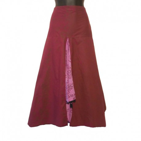 Long bicolor cotton skirt - Maroon and parma