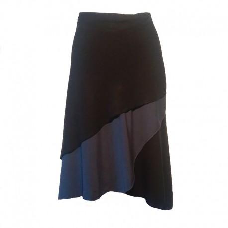 Jupe portefeuille longue en rayonne - Noir/bleu-gris