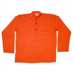 Ethnic plain cotton shirt S - Orange