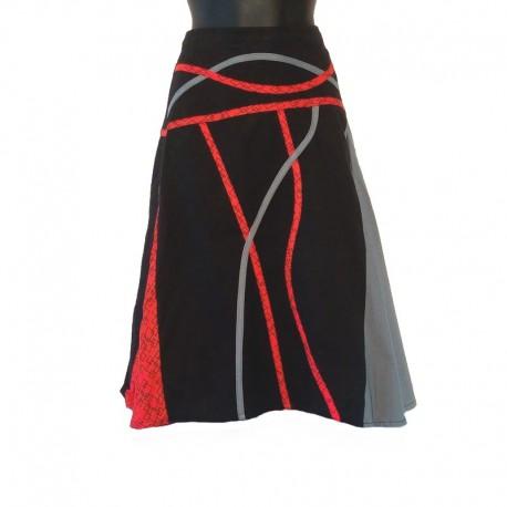 Jupe mi-longue évasée en coton - Noir, gris et rouge