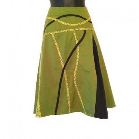 Jupe mi-longue évasée en coton - Vert, noir et jaune