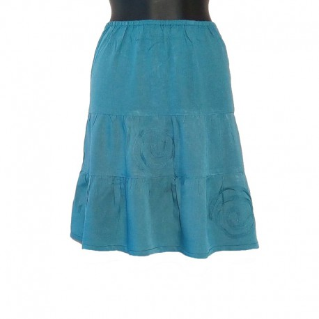 Jupe courte en rayonne - Bleu clair