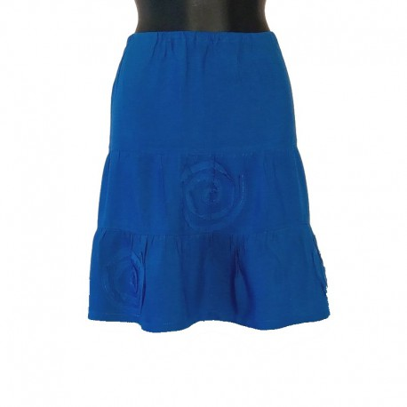 Jupe courte en rayonne - Bleu