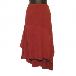 Long asymetric rayon skirt - Maroon