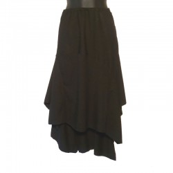 Long asymetric rayon skirt - Black