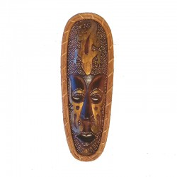 African mask H 35 cm in wood and rattan - Gecko design