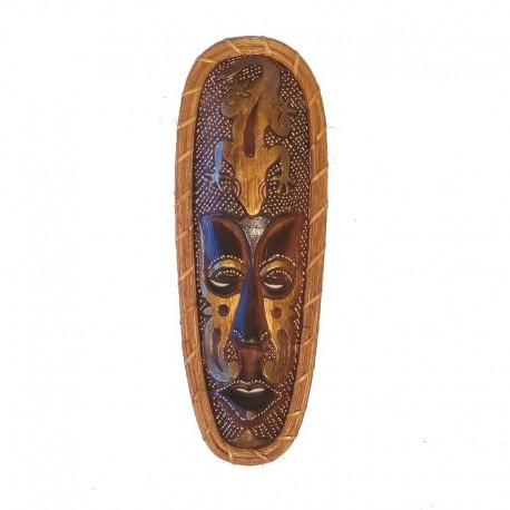 Masque Africain H 35 cm bois et rotin - motif Gecko
