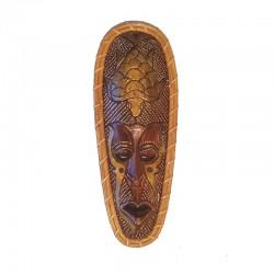Masque Africain H 35 cm bois et rotin - design Tortue