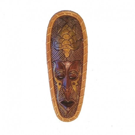 African mask H 35 cm in wood and rattan - Turtle design