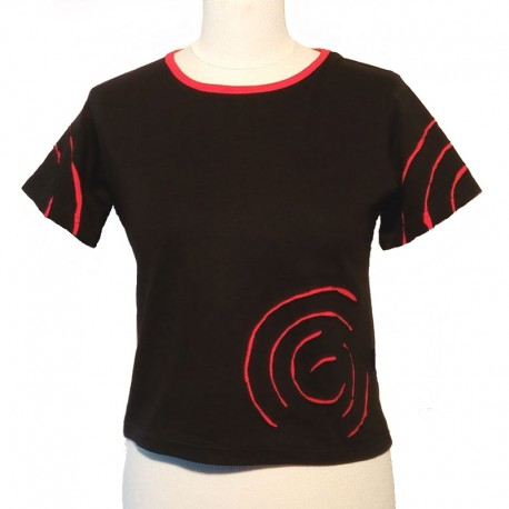 Cotton spiral T shirt short sleeves - Black and red