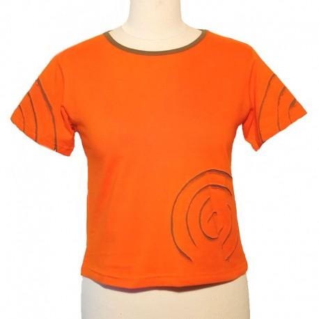 Tee shirt spirale en coton manches courtes - Orange et kaki