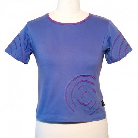 Tee shirt spirale en coton manches courtes - Parme et violet